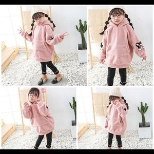 NWT Girl's Pink Loose Fit Pullover Warm Hoodie